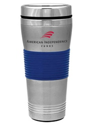 Customizable Steel Tumbler w-Blue Rings 16oz
