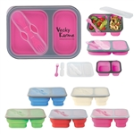 Custom 2-Section Collapsible Food Container w-Dual Utensil