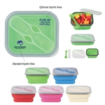 Custom Collapsible Plastic Food Container w-Dual Utensil