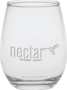 Personalized Stemless Deep Etched Wine Glass 12oz