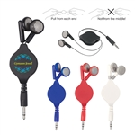 "Custom Retractable 27"" Cord Ear Buds"