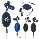 "Custom Pretractable Metal Earbuds w-38"" Cord"