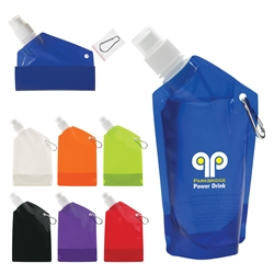 Custom Collapsible Flat Bottle w-Carabiner 12oz