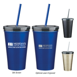 Custom Double Wall Stainless Steel Tumbler w-Straw 16oz