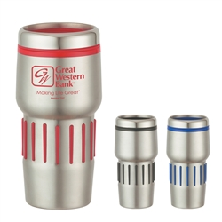 Custom Stainless Steel Tumbler w-Rubber Grips 16oz