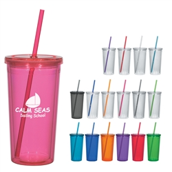 Custom Acrylic Double Wall Tumbler w-Straw 24oz