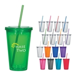 Custom Acrylic Double Wall Tumbler w-Straw 16oz