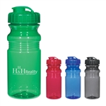 Custom Poly Clear Fitness Water Bottle w-Sipper Lid 20oz