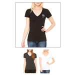 Screenprinted Bella + Canvas Short Sleeve Ladies' Jersey Deep V-Neck Tee