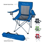 Custom Mesh Folding Steel Chair w-Carrying Bag