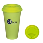 Custom Double Wall Ceramic Mug with Silicone Lid 11oz