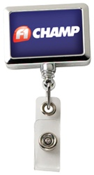 Custom Chrome Rectangle Badge Reel w-Alligator Clip