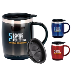 Logo Imprinted Desk Mug w-Lid 16oz