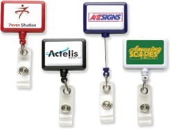 Custom Rectangle Logo Badge Reel w-Belt Clip