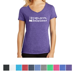 Screenprinted Ladies' Perfect District Made® Tri V-Neck Tee