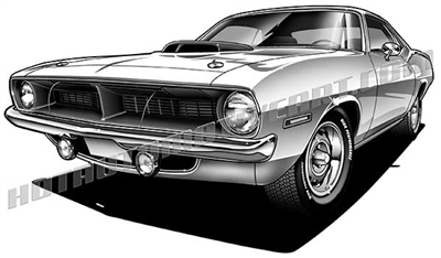 1970 Plymouth Barracuda muscle car clip art
