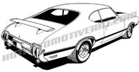 1970 oldsmobile 442 clip art rear view