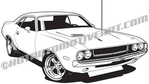 70 dodge challenger vector clipart high quality