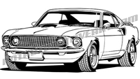1969 ford mustang fastback clip art front view