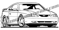 1996 ford mustang gt art front view