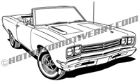 1969 Plymouth Roadrunner convertible clip art