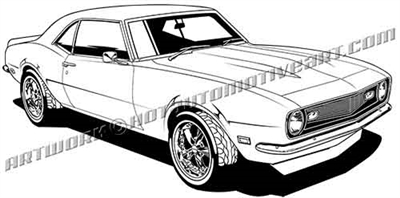 1968 Chevrolet Camaro muscle car clip art - side 3/4 view