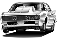 1968 Chevy Camaro wheelie clip art / front view