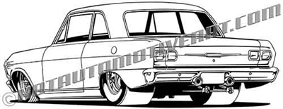 1965 chevy II clip art rear view