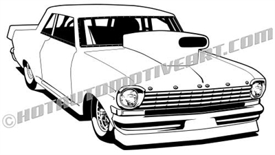1963 chevrolet chevy II with hood scoop clip art