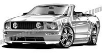 2006 ford mustang gt convertible clip art 3/4 view