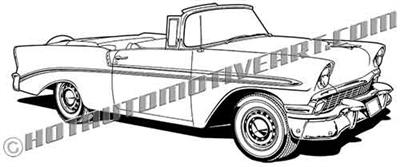 1956 chevy bel air convertible clip art side 3/4 view