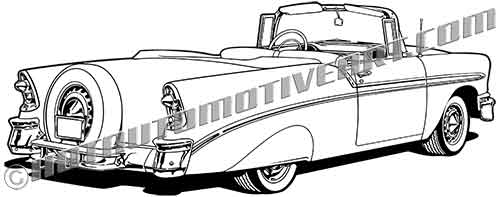 1956 chevy bel air convertible clip art rear view  buy two images  get one image free