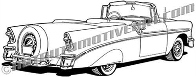 1956 Chevrolet classic convertible vector rear view