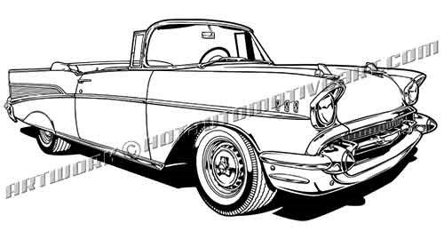 57 chevy bel air convertible clip art   buy two images