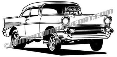 1957 Chevy bel air gasser clip art 3/4 view