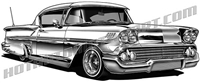 1958 Chevy Impala lowrider clip art 3/4 view
