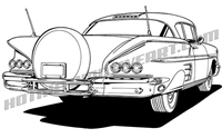 1958 chevrolet impala clip art rear 3/4 view