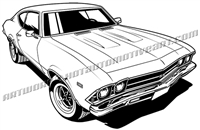 1969 chevy chevelle vector clip art top 3/4 view
