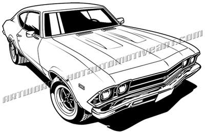 1969 chevy chevelle clip art top 3/4 view