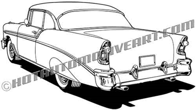 1956 chevy bel air clip art 3/4 rear view