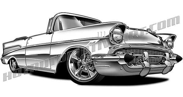 1957 Chevrolet Bel Air Classic Convertible Clip Art Buy Two Images