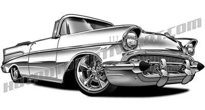 1957 chevy bel air convertible restomod clip art