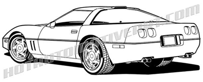 1992 corvette clip art 3/4 rear view