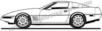 1992 corvette C4 clip art side view