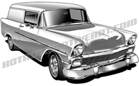 1956 chevy panel wagon street rod clip art 3/4 view