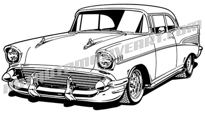 1957 chevy bel air coupe clipart 3/4 view
