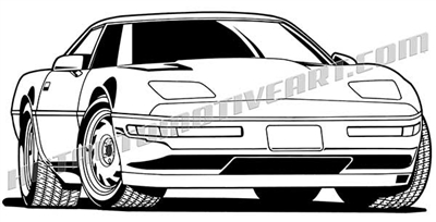 1992 chevy corvette C4 clip art 3/4 view