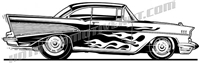 1957 chevy bel air street rod clip art / side view