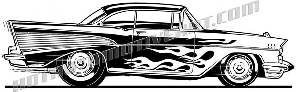 1957 chevy bel air street rod with flames clip art buy two images rh hotautomotiveart com 57 Chevy Grill Clip Art 57 chevy truck clipart