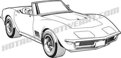1968 chevrolet corvette C3 clip art 3/4 view